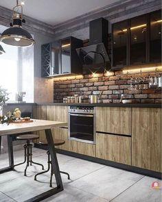 Apartment Kitchen, Apartment Interior, Living Room Kitchen, Kitchen Decor, Kitchen Bar Design, Interior Design Kitchen, Ideas Hogar, Home Remodeling Diy, Home Room Design