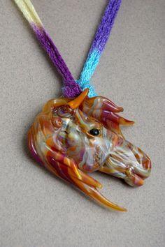 Romance Horse Borosilicate glass pendant by Cleo Dunsmore Buchanan - Gramatortoise