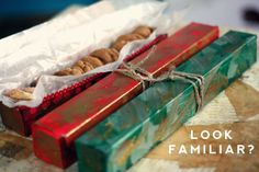 I've thought about doing this before - might have to try it this year!  Use empty boxes from foil pr parchment paper, decorated and put your holiday cookies in them!