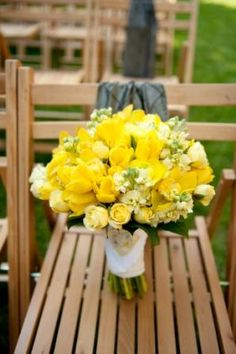Yellow Bouquet of Tulips, Ranunculus, Stock, and Mini Cymbidium Orchids | Designed by Judy Johnston of Engaging Events | Charleston Wedding