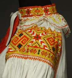 Hello all, Today I will talk about one of the most colorfully embroidered costumes of Slovakia, That of the village of Čičmany and v. Folk Embroidery, Embroidery Patterns, Ethnic Fashion, Fashion Art, Folk Costume, Costumes, Embroidery For Beginners, Bratislava, Traditional Dresses