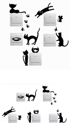 Home Decor | 1 Set of 5pcs Removable Cute Lovely Cat Switch Wall Sticker Vinyl Decal Home Decor – US $0.94
