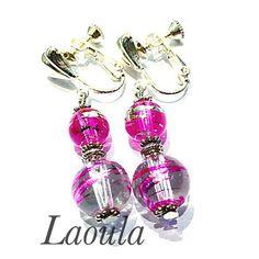 Boucles d'oreilles clip en verre Fushia, bijoux pas chers