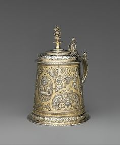 "Michael Beri (active ca. 1620). Tankard, ca.1627. Hungarian. The Metropolitan Museum of Art, New York. Gift of The Salgo Trust for Education, New York, in memory of Nicolas M. Salgo, 2010 (2010.110.18) | This work is featured in our ""Hungarian Treasure: Silver from the Nicolas M. Salgo Collection"" exhibition on view through October 25, 2015. #HungarianTreasure #horses"