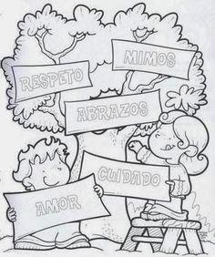 Dibujos de Arboles para Colorear, parte 1 Coloring For Kids, Coloring Books, Coloring Pages, Sunday School, Art School, Elementary Spanish, Creative Curriculum, Kids Education, Free Printables