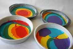 """Finally, a rainbow cake that actually explains how to layer the different colored batters:  """"I think that how you pour it, has a lot to do with how it looks in the end.  You can decide if you want to pour in small or large amounts of color."""""""