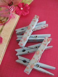 shabby chic pencils | New Shabby Chic Blue Floral Wooden Clothes Pins Photo Clip Note Holder ...