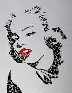 Unique handmade tiles mosaic Marilyn Monroe by MosaicsDesign, Mosaic Crafts, Mosaic Projects, Stained Glass Designs, Mosaic Designs, Mosaic Glass, Mosaic Tiles, Mosaic Stepping Stones, Mosaic Portrait, Marilyn Monroe Art