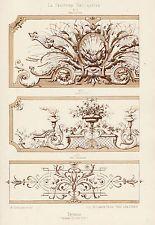 Antique Print-DECORATION-ORNAMENT-LOUIS XIV STYLE-DETAILS-PLATE 15-Gruz-1860
