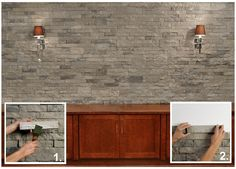 Airstone-Looks like brick/stonework but is lightweight and easy to install. Can be used as a backsplash, accent wall, fireplace and even outdoors. It is available thru Lowes.