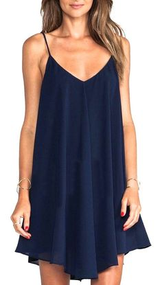 Spaghetti strap asymmetrical shift dress…yes, please!