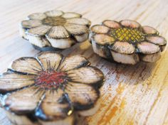 Magnet Wood Set of 3 Rustic Flowers Strong Magnet by Art2Carry