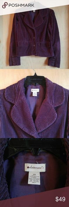 Anthro Elevenses Purple Wide Wale Corduroy Jacket Elevenses brand jacket from Anthropologie, size 10 (medium), in excellent condition! Only signs of wear are where the corduroy fabric creases like in the elbow corners. The 'wale' of the cord is the width and as you can see its wider than usual cord. Gorgeous eggplant purple color. 3 button. Large lapel. Please ask any questions. No trades. Make a reasonable offer. Thanks! Anthropologie Jackets & Coats Blazers