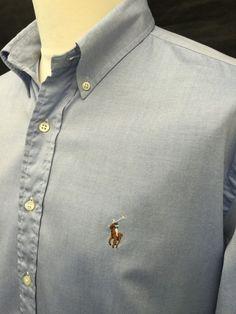 Polo #RalphLauren #Mens #Shirt XL Regular Fit Plain Blue #Oxford Cotton #menswear #mensfashion #mensstyle