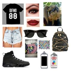 """""""Let's show em how artistic we are"""" by carolinalx33 ❤ liked on Polyvore featuring Ray-Ban and Moschino"""