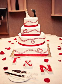 Rose Alene Photography; Baseball cake; Sharon's Custom Cakes:would be fun for a World Series party, change topper