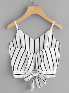 Striped Split Tie Back Crop Cami Top