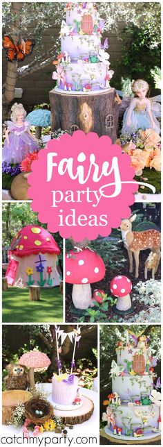 What a gorgeous outdoor fairy garden girl birthday party! See more party ideas at CatchMyParty.com!