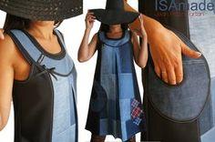 eed138bc8389 Patchwork de Jean et Tartan écossais   la robe trapèze adopte un look  Graphique et Sixties