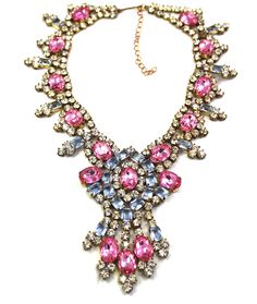 Czech pink and blue and clear ice black tie chic necklace mint vintage available at PILGRIM NYC