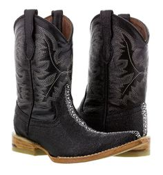Kid/'s Boys New Leather Stingray Design Durable Cowboy Western Boots Pointy Black