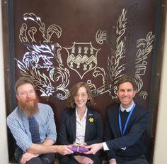 Pocklington School sixth form student Florence Colbeck, with Steve Ellis, Head of Design and Dan Cimmermann, Head of Art.