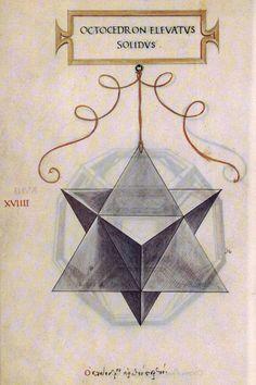 Leonardo da Vinci's drawing of the stellated octahedron or stella octangula (octocedron elevatus solidus) for Luca Pacioli's book 'De divina proportione'.
