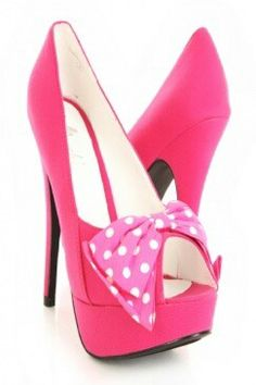 Pink shoes with white polka dots