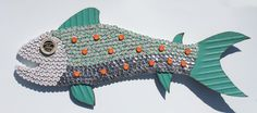 Plastic Bottle Cap Crafts | Bottlecap fish mosaic number 51