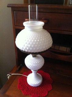 "Vintage Fenton Milk Glass Hobnail Hurricane Lamp Side Bed Table Light Height 20"""