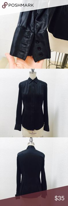 Black silk blouse formal silk blouse with stretching   Very  femininity  fit line   Looks slim Tops Blouses