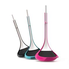 Ropo Dust Pan and Broom Set uses water within the plastic structure to weight the base and prevent the pan from falling.  The resulting weeble movement makes for playful product.  Could it actually make housework more bearable?  Received 2014 reddot design award.  red-dot.org