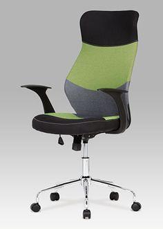 KA-N849 GRN Kancelářská židle látková, barvy v přírodním tónu doplněné o akcent zelené barvy na přední straně opěráku a sedáku, pochromovaný kříž. Houpací mechanismus. Chair, Furniture, Design, Home Decor, Decoration Home, Room Decor, Home Furnishings, Stool
