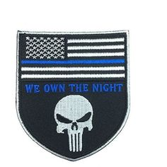 Patch Squad Men's Skull Design Thin Blue Line Police Devgru Tactical Seal Team Punisher American Flag/ We Own the Night Patch