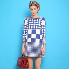 European Style Vintage New Autumn Plaid Printed Round Neck Long Sleeved Womens Dress