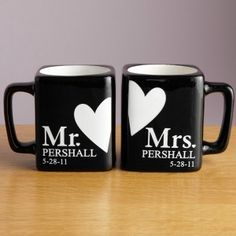 Mr and Mrs personalized anniversary mug. Plus you can add your wedding date. Perfect for your 18th anniversary gift as on the modern list you have porcelain