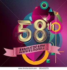 58th Anniversary, Party poster, party invitation - background geometric glowing element. Vector Illustration - stock vector  #advertisement #age #anniversary #background #badge #banner #birthday #business #card #geomatric #celebrating #celebration #ad #ceremony #certificate #collection #colorful #congratulation #corporate #design #element #event #flat #geometric #happy #icon #illustration #invitation #jubilee #label #marriage #modern #number #party #pattern #ribbon #sign #success #symbol…