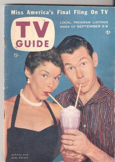 1955 TV Guide Johnny Carson and Jody Carson his first wife.