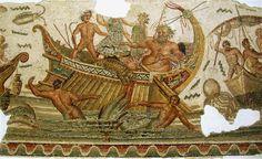 Neptune fighting pirates, Roman mosaic from the 2nd century CE, Bardo Museum Tunis.