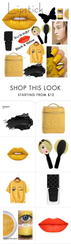 """""""Untitled #83"""" by classykyss ❤ liked on Polyvore featuring beauty, Urban Decay, Chanel, Lime Crime, Jacki Design, Gucci and summerlipstick"""