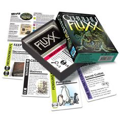 Cthulhu Fluxx | Looney Labs... This is an amazingly fun game that more people should know about. 2-4 people can play and its a little different every time and especially with every different person you play with. Can last 2 minutes or 30. Lot of fun.
