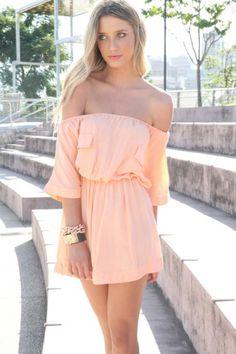 3a259157d4 Off the Shoulder Peach Dress  socialblissstyle  fashion  peachy Shoulder  Dress