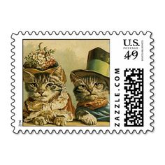 Vintage Victorian Cats in Hats, Funny Silly Humor Postage Stamp. Make your own business card with this great design. All you need is to add your info to this template. Click the image to try it out!