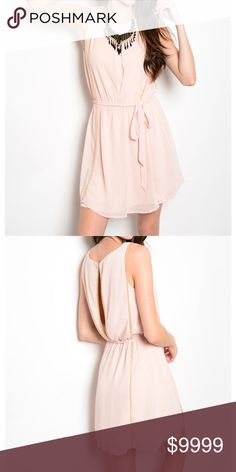 Sleeveless Baby Doll Chiffon Blush Dress This sleeveless chiffon dress features metallic embellished details, baby doll fit and removable waist sash and key hole cutout on back. Fully lined. golden threads Dresses