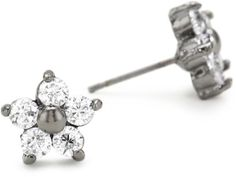Betsey Johnson Crystal and Hematite-Color Star Flower Stud E