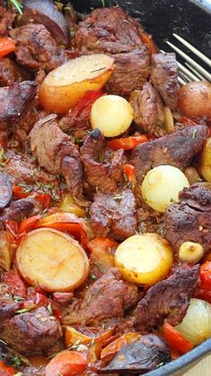 Meat Recipes, Cooker Recipes, Dinner Recipes, Healthy Recipes, One Pot Meals, Main Meals, Beef Dishes, Food Dishes, Vegetable Skillet Recipe