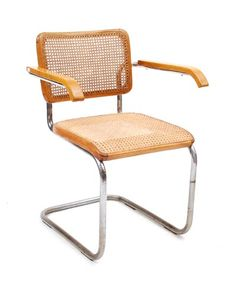 Botterweg Auctions Amsterdam U003e B 64 Tubular Chair With Woven Seat And Back  And Wooden Armrests, Design Marcel Breuer Execution Unknown(see Literature)