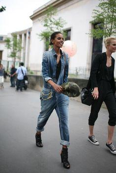 Grace Mahary, rocking a denim jumpsuit. Paris Couture Week street style [Photo by Kuba Dabrowski]