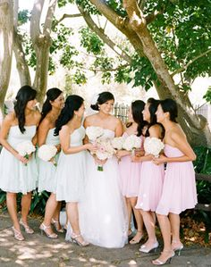 Two colors for bridesmaid dresses
