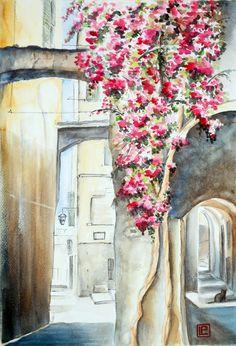 """"""" Caruggio ligure """" acquerello N.D. di Lorenza Pasquali Paintings 35x51 www.lorenzapasquali.it  Copyright © Lorenza Pasquali"""